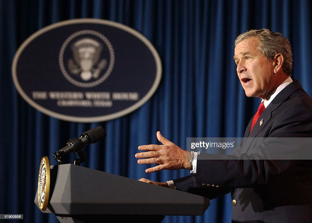 U.S. President George W. Bush answers questions during a news conference at his ranch December 29, 2004 near Crawford, Texas. President Bush spoke on a large number of issues including the aid for the Tsunami victims, Iraq elections as well as flooding on the West Coast.