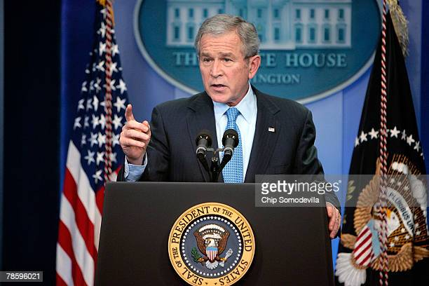 S President George W Bush answers questions during a news conference in the White Hosue Brady Briefing Room December 20 2007 in Washington DC Bush...