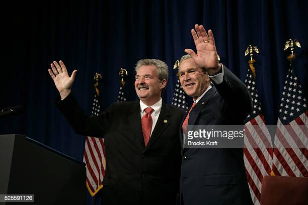 President George W Bush appears at a Mike Sodrel for Congress and Indiana Victory 2006 fundraiser reception