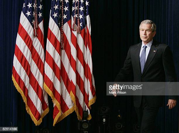 S President George W Bush arrives for comments on a presidential commision's report on prewar intelligence regarding weapons of mass destruction...