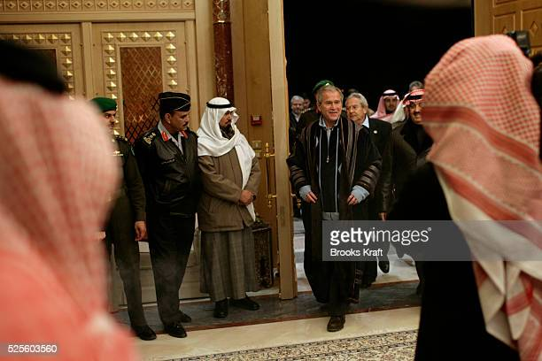 US President George W Bush arrives for tea with Saudi King Abdullah at Al Janadriyah Farm in Al Janadriyah Saudi Arabia | Location Janadriyah Saudi...