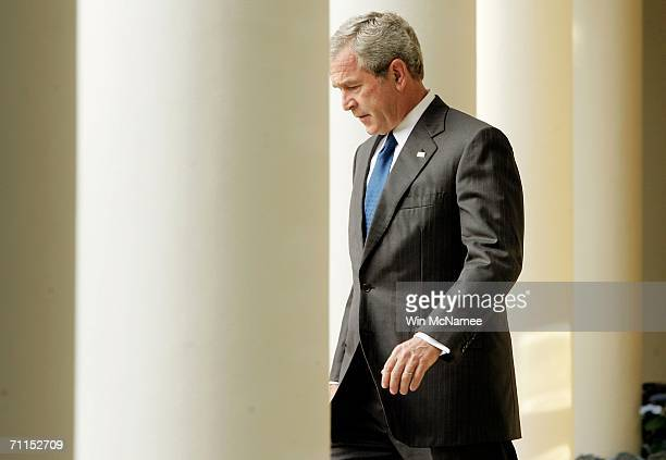 S President George W Bush arrives in the Rose Garden to speak about the death of Abu Musab alZarqawi June 7 2006 in Washington DC Zarqawi considered...