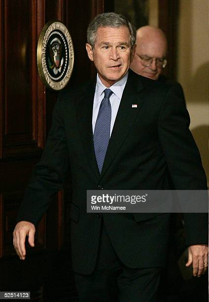 S President George W Bush arrives to speak about a presidential commision's report on prewar intelligence regarding weapons of mass destruction with...