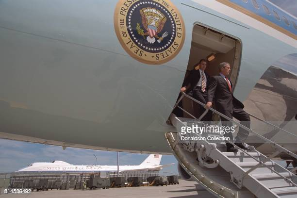 President George W Bush arrives Tuesday Sept 11 at Offutt Air Force Base in Nebraska Photo by Eric Draper Courtesy of the George W Bush Presidential...