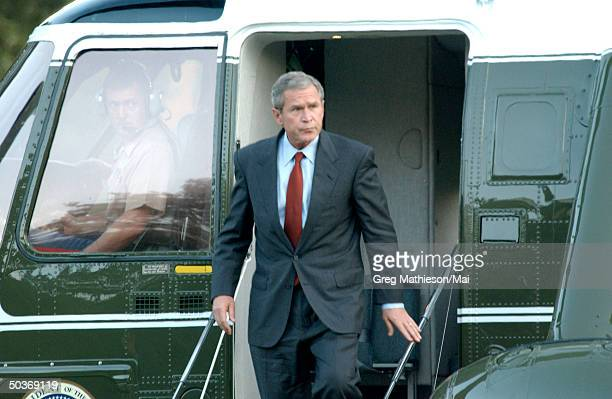 President George W Bush arrriving at the White House following terrorist attacks on the World Trade Center and the Pentagon