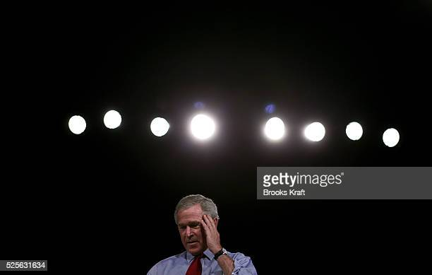 President George W Bush attends a campaign rally at Canton Palace Theatre Friday Oct 22 2004 in Canton Ohio Bush spoke to supporters about medical...