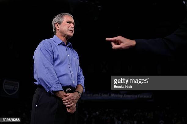 President George W Bush attends a campaign rally in Canton Ohio