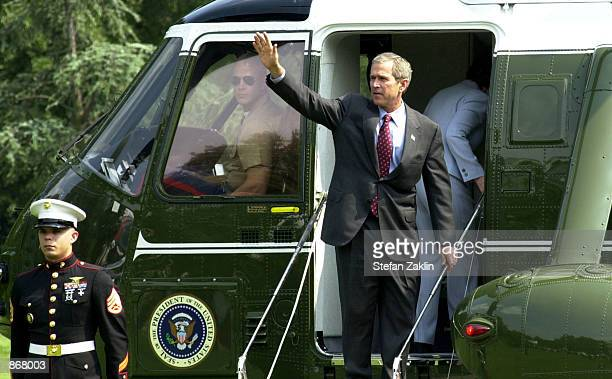 S President George W Bush boards Marine One as he departs the White House June 28 2002 in Washington DC Bush is scheduled to undergo a colonoscopy...