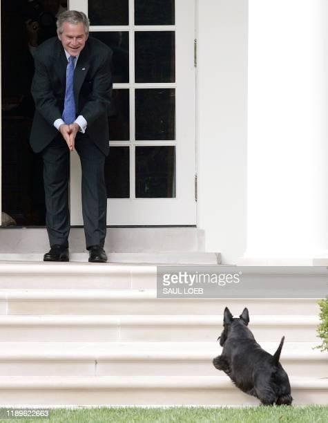 US President George W Bush calls for his dog Barney as he stands on the West Wing Colonnade at the White House in Washington DC 28 September 2007