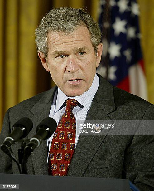 President George W Bush calls on the US Senate and the Judiciary 30 October 2002 at the White House in Washington DC to join him in adopting his plan...