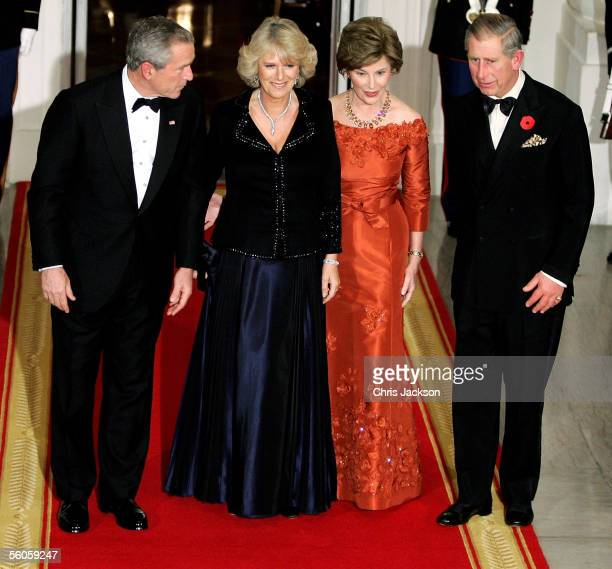 US President George W Bush Camilla Duchess of Cornwall first lady Laura Bush and Prince Charles Prince of Wales arrive for the social dinner at the...