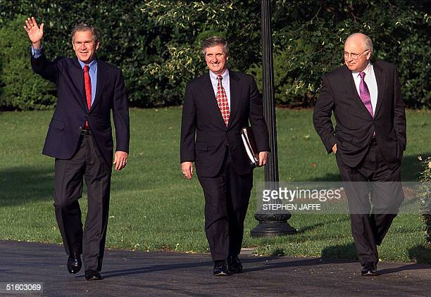 President George W Bush Chief of Staff Andy Card and Vice President Dick Cheney walk from the Oval Office of the White House 08 June 2001 Bush is...