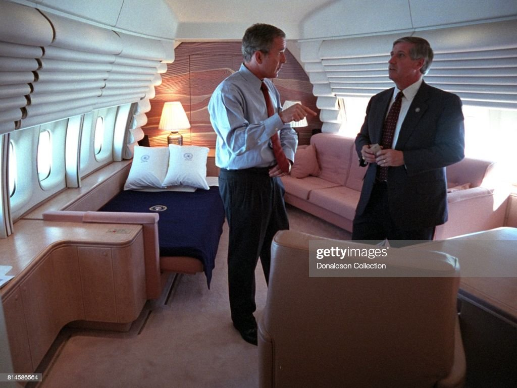 President George W. Bush confers with White House Chief of Staff Andy Card Tuesday, Sept. 11, 2001, in the President's stateroom aboard Air Force One. Photo by Eric Draper, Courtesy of the George W. Bush Presidential Library/Getty Images