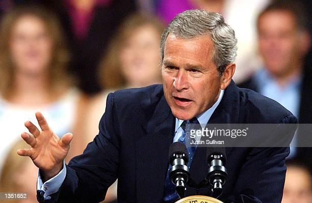 S President George W Bush delivers a speech at the Stockton Memorial Civic Auditorium August 23 2002 in Stockton California President Bush will also...