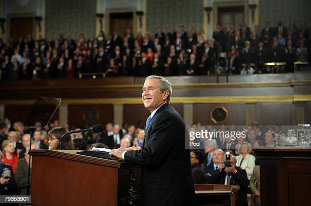 S President George W Bush delivers his final State of the Union address at the US Capitol January 28 2008 in Washington DC Bush in his last address...