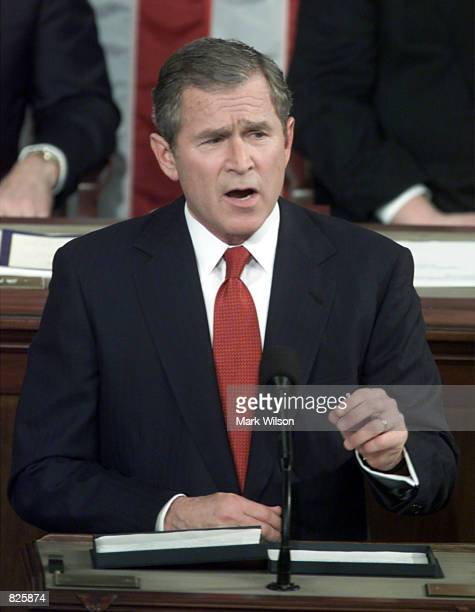 S President George W Bush delivers his first speech before a joint session of the 107th Congress February 27 2001 on Capitol Hill in Washington D C...