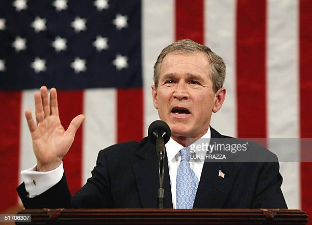 President George W Bush delivers his State of the Union address 29 January 2002 on Capitol Hill in Washington DC Bush said our nation is at war our...