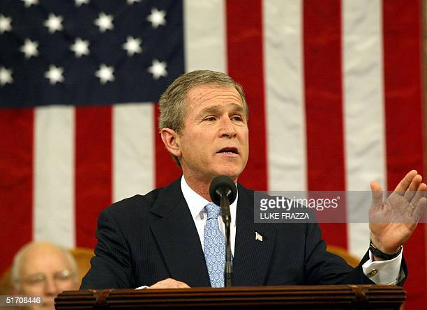 President George W Bush delivers his State of the Union address 29 January 2002 on Capitol Hill in WashingtonDC Bush said our nation is at war our...