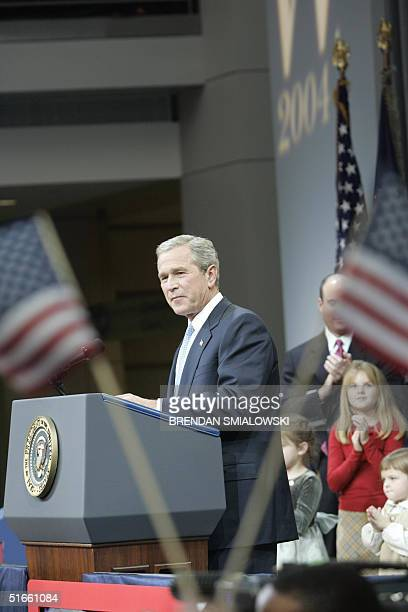 President George W Bush delivers his victory speech to supporters gathered at the Ronald Reagan Building 03 November 2004 in WashingtonDC Former...