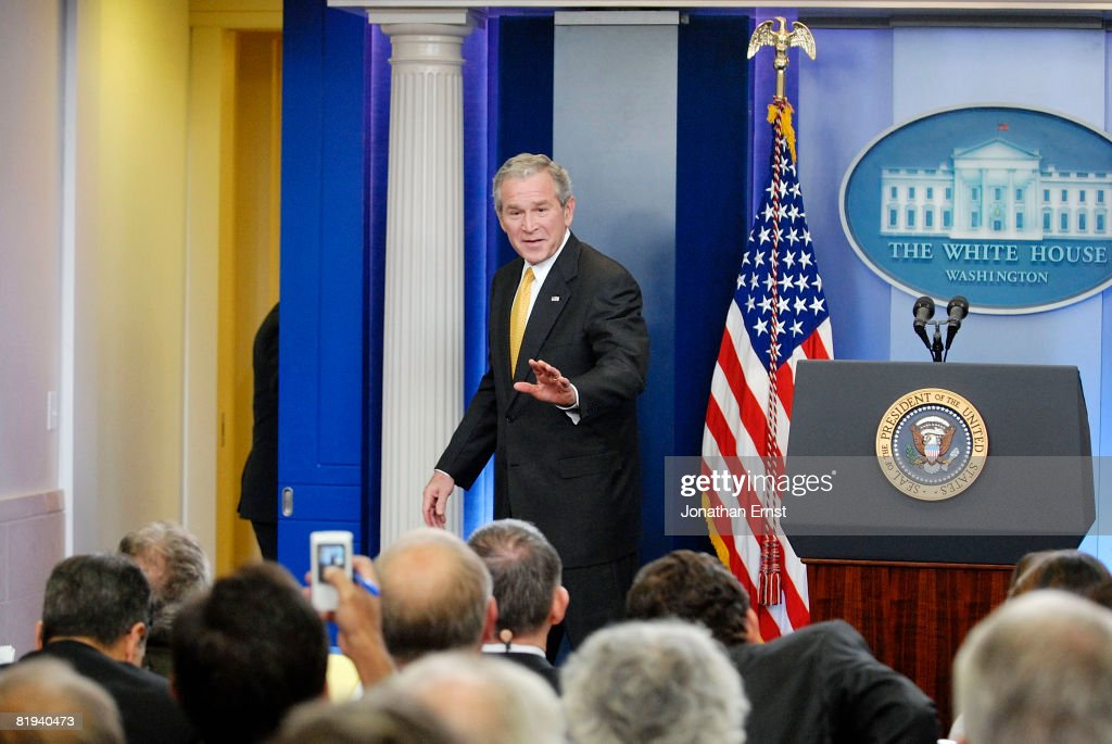 U.S. President George W. Bush departs after addressing reporters during a press conference in the briefing room at the White House July 15, 2008 in Washington, DC. Bush addressed oil prices and energy policy, the wars in Iraq and Afghanistan and the economy, among other topics.