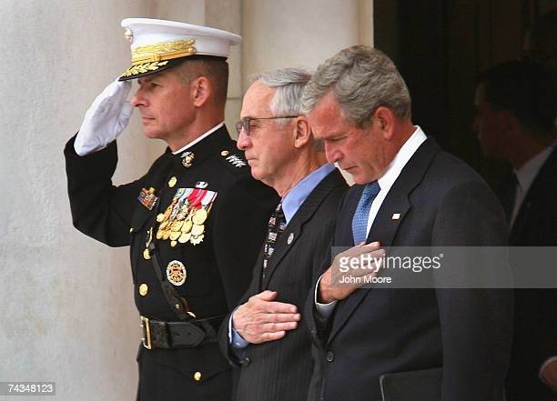 US President George W Bush Deputy Secretary of Defense Gordon England and Chairman of the Joint Chiefs of Staff General Peter Pace listen during the...