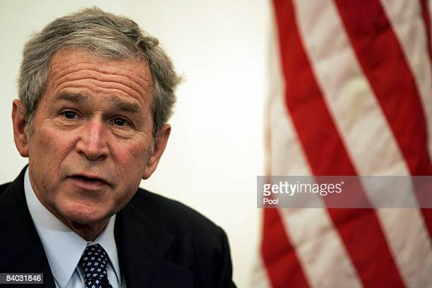 S President George W Bush during his meeting with the Iraqi President Jalal Talabani at Salam Palace December 14 2008 in Baghdad Iraq Bush arrived in...