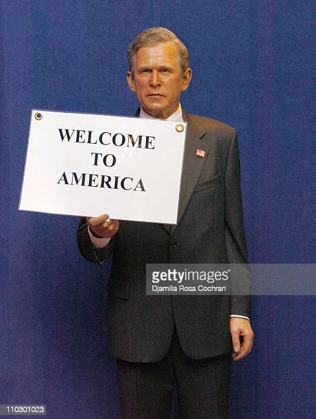 President George W Bush during Madame Tussauds New York Unveils David and Posh Beckham's Wax Figures Wrapped in American Flags at Maddame Tussauds...