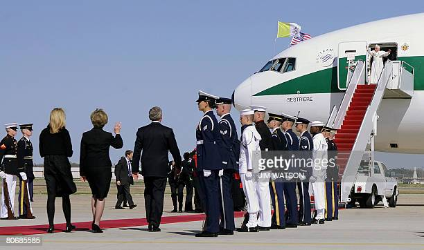 US President George W Bush First Lady Laura Bush and their daughter Jenna walk to the plane as Pope Benedict XVI waves to the crowd upon arrival at...