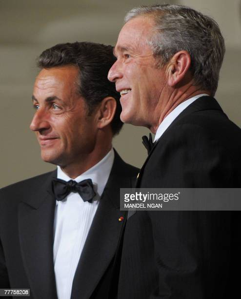 US President George W Bush greets French President Nicolas Sarkozy 06 November 2007 upon arrival on the North Portico of the White House in...
