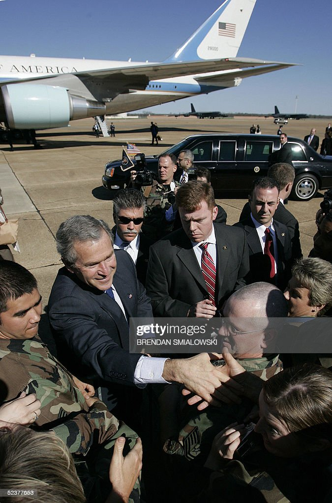 Us President George W Bush Greets Troops Before Departing