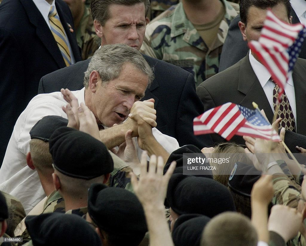 US President George W  Bush greets US Troops at Fort Drum