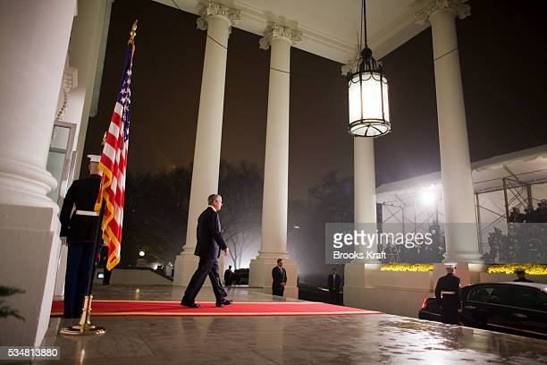 President George W. Bush greets world leaders as they arrive at the North Portico of the White House in Washington. President Bush invited leaders of...