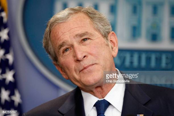 President George W. Bush holds a news conference in the Brady Press Briefing Room at the White House January 12, 2009 in Washington, DC. Bush spent...