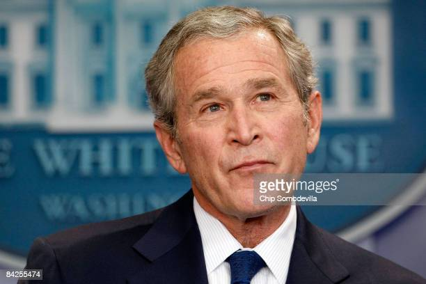 S President George W Bush holds a news conference in the Brady Press Briefing Room at the White House January 12 2009 in Washington DC Bush spent...