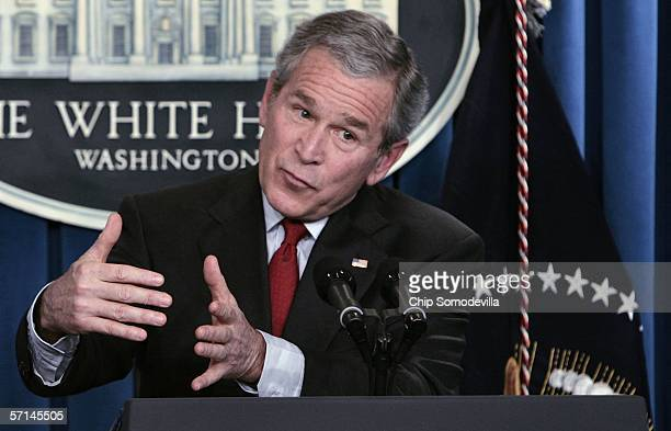 President George W. Bush holds a press conference in the Brady Press Briefing Room at the White House March 21, 2006 in Washington, DC. Bush talked...