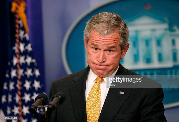 US President George W Bush holds a press conference in the Brady Press Briefing Room of the White House July 15 2008 in Washington DC President Bush...