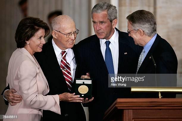 S President George W Bush House Speaker Nancy Pelosi and Senate Majority Leader Harry Reid present the Congressional Gold Medal to Norman E Borlaug...
