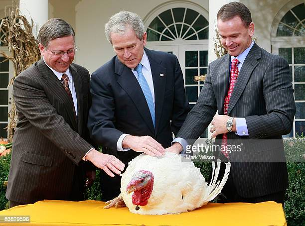 US President George W Bush is flanked by Paul Hill and Nathan Hill of the National Turkey Federation pardons a Turkey named Pumpkin during the annual...