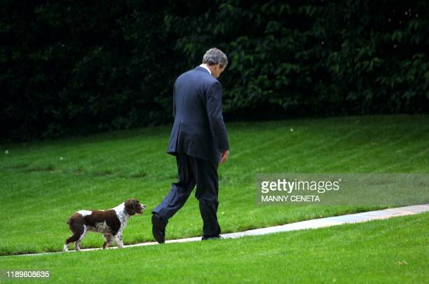 US President George W Bush is followed by his pet dog Spot as he walks towards the Oval Office upon arrival at the White House 11 June in Washington...