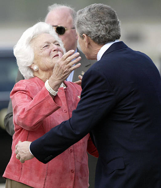 president-george-w-bush-is-greeted-by-his-mother-former-first-lady-picture-id52445750