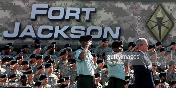 President George W Bush joins Fort Jackson soldiers in the Pledge of Allegiance on Friday November 2 in Fort Jackson South Carolina Bush spoke during...