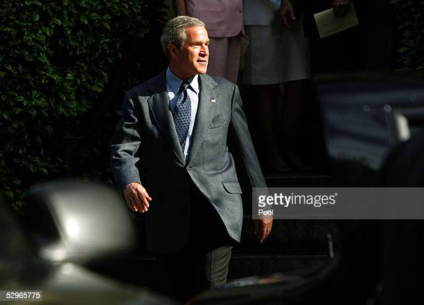 S President George W Bush leaves St John's Episcopal Church after a Sunday service May 22 2005 in Washington DC