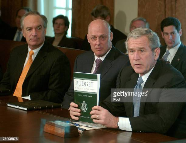 US President George W Bush makes a statement following a Cabinet meeting on the 2008 Budget submitted to Congress as Secretary of the Interior Dirk...