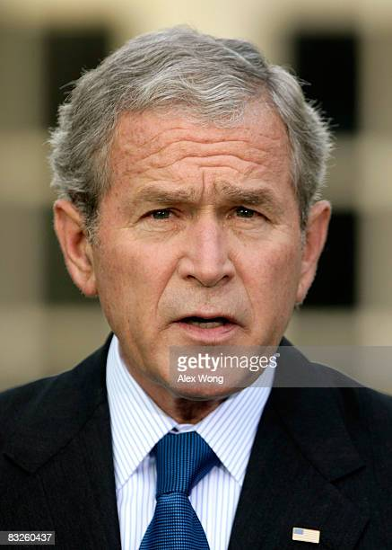 S President George W Bush makes a statement in the Rose Garden of the White House October 14 2008 in Washington DC Bush has announced that he will...