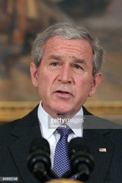 S President George W Bush makes a statement on assistance for domestic automakers from the Roosevelt Room of the White House in Washington DC US on...