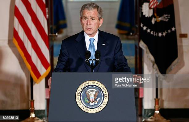 S President George W Bush makes a statement on Iraq policy from the Cross Hall of the White House April 10 2008 in Washington DC During his remarks...