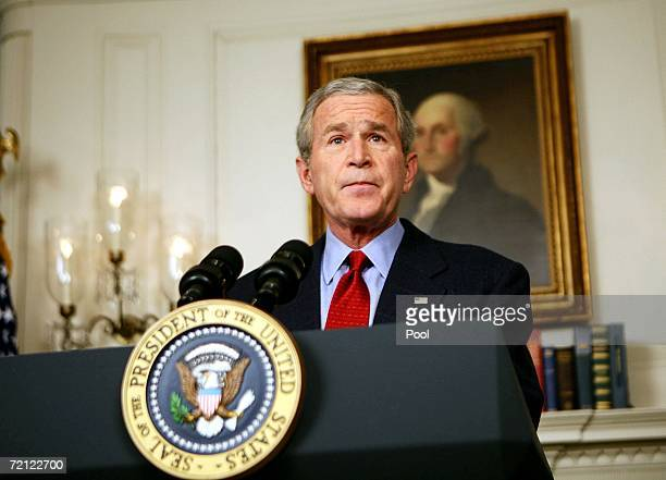 US President George W Bush makes a statement on North Korea October 9 2006 in the Diplomatic Reception Room of the White House in Washington DC North...