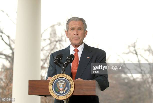 US President George W Bush makes a statement on the economy on the Colonnade of the White House March 7 2008 in Washington DC The Labor Department...
