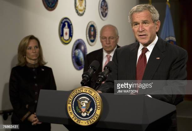 US President George W Bush makes a statement to the press at the National Security Agency on Fort Meade Maryland 19 September 2007 with Homeland...