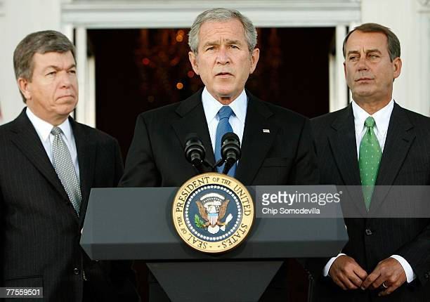 S President George W Bush makes a statement while flanked by Minority Whip Roy Blunt and Minority Leader John Boehner on the North Portico of the...